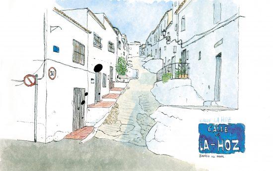 Acuarela dibujo de la calle de la Hoz, Oliva (Valencia). Paisaje estilo urban sketchers. Souvenirs de la comunidad valenciana. Arte para decorar