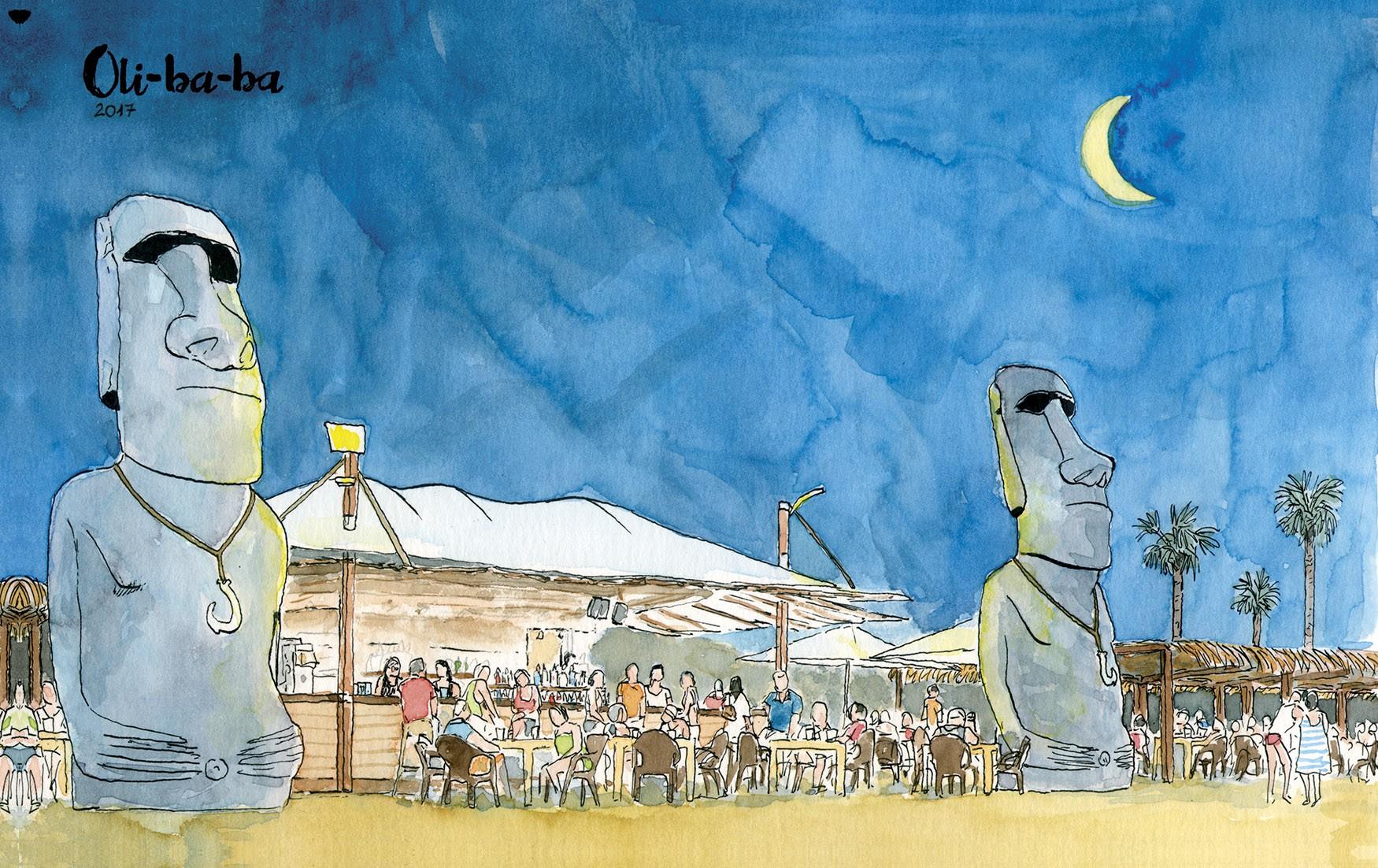 Ilustración de noche del beach club de la playa de Oliva Oliba-ba en la provincia de Valencia y comarca de la safor
