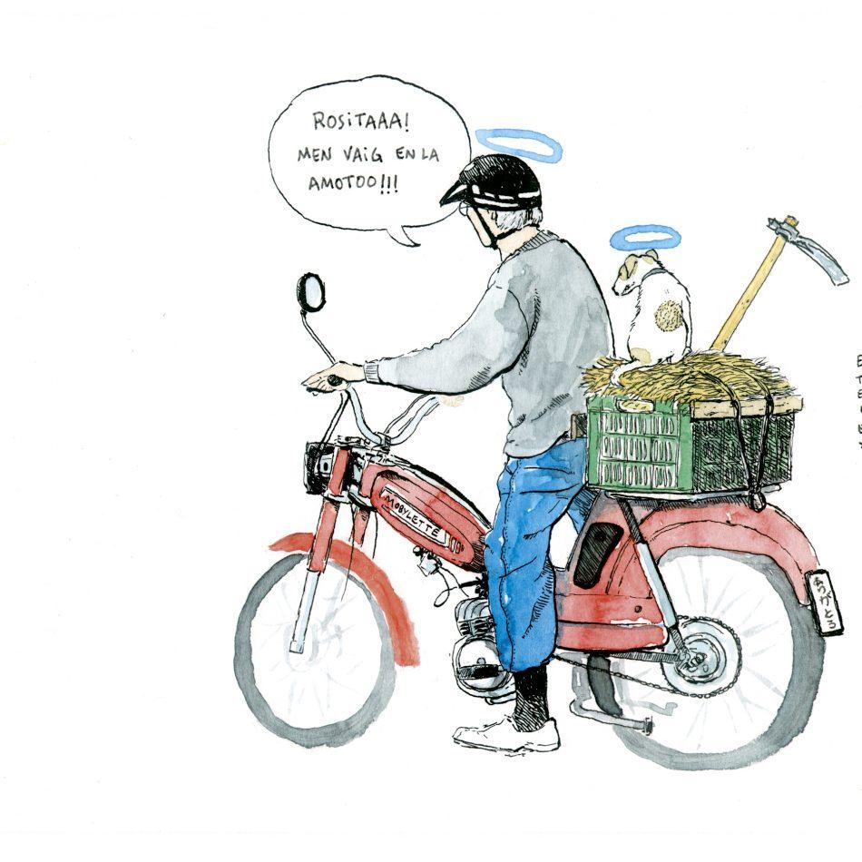 Dibujo de un anciano en mobylette