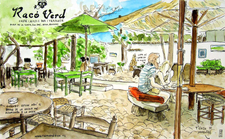 Dibujo de la terraza del restaurante Raco Verd en la isla de Ibiza. Baleares. España