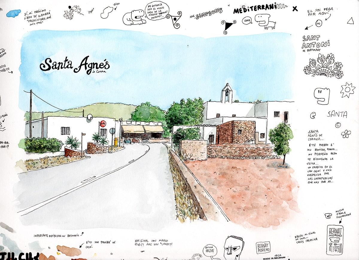 Dibujo del pueblo de Santa Angés en Ibiza, Baleares. Acuarela sobre papel