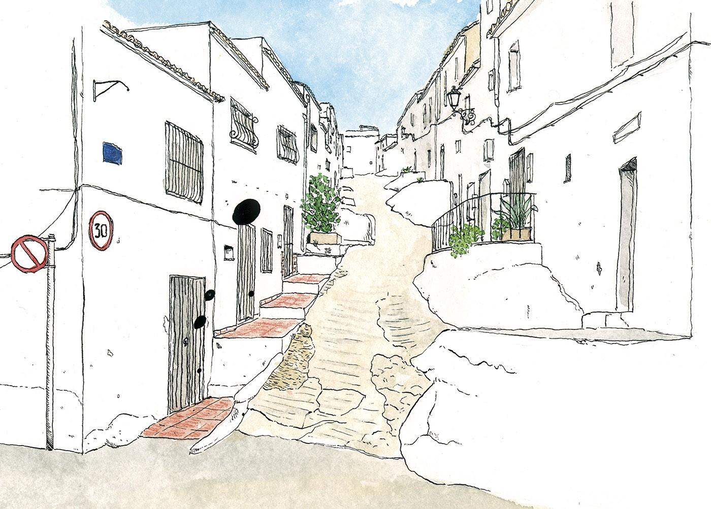 Dibujo en acuarela de la calle de la hoz en Oliva, La Safor. Valencia