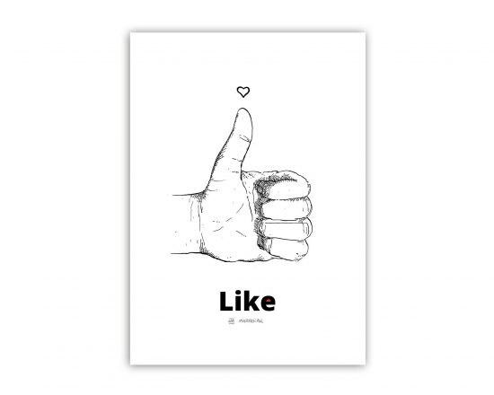 Lámina con el dibujo de una mano haciendo el Me Gusta de Facebook