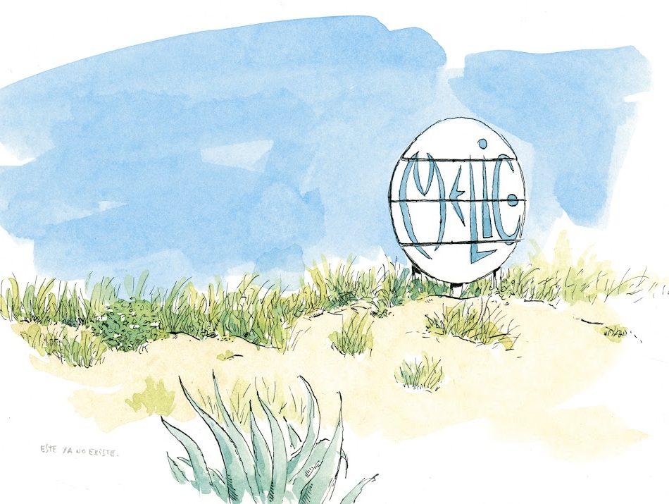 Dibujo del chiringuito el melic en la playa de Oliva, Valencia
