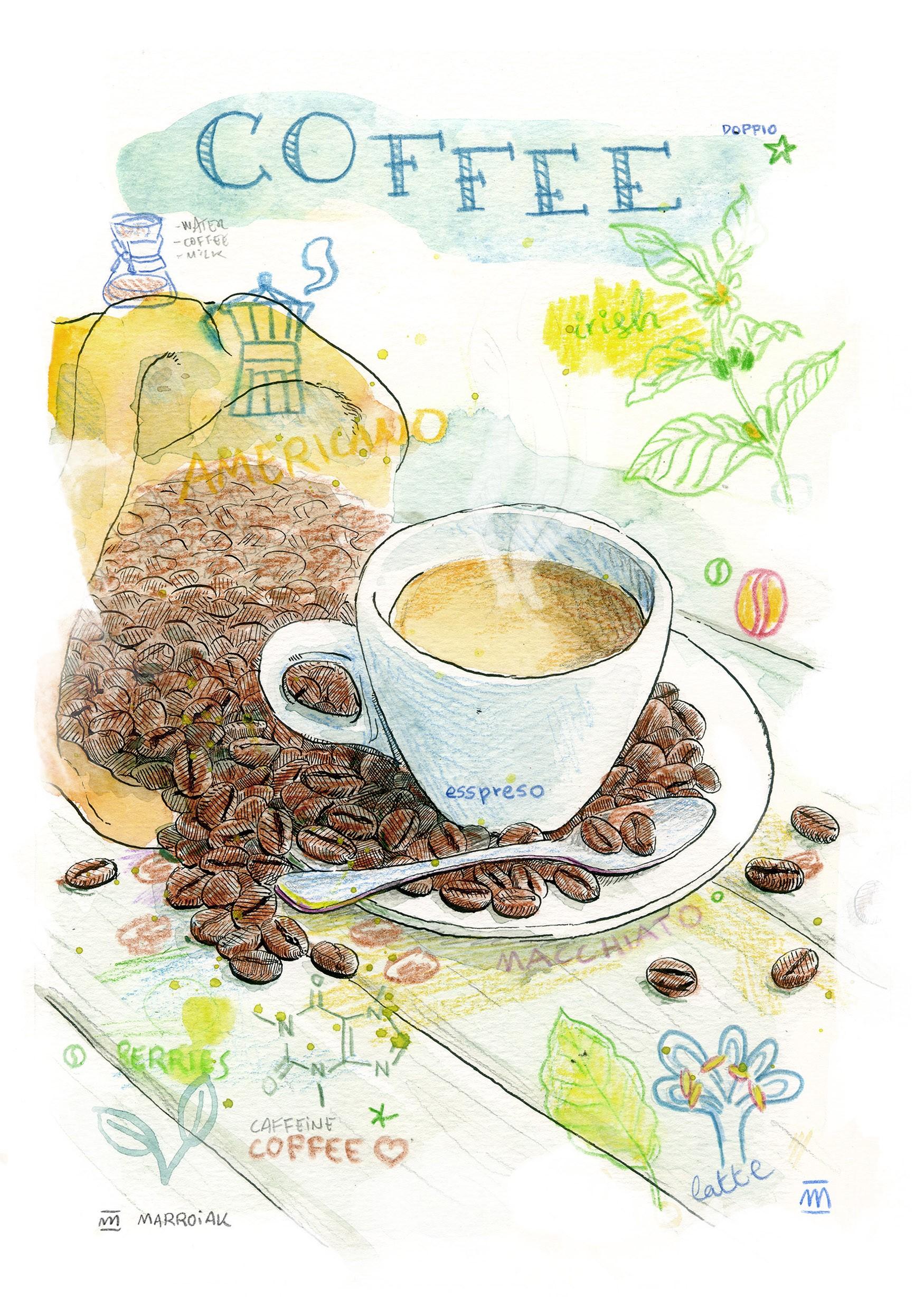 Dibujo con una taza de café expreso para la decoración de pared de cocinas, bares y restaurantes. Arte cafeterías.