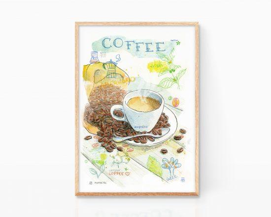 Cuadro con una acuarela decorativa para cocinas. Taza de café realizada en acuarela sobre papel.