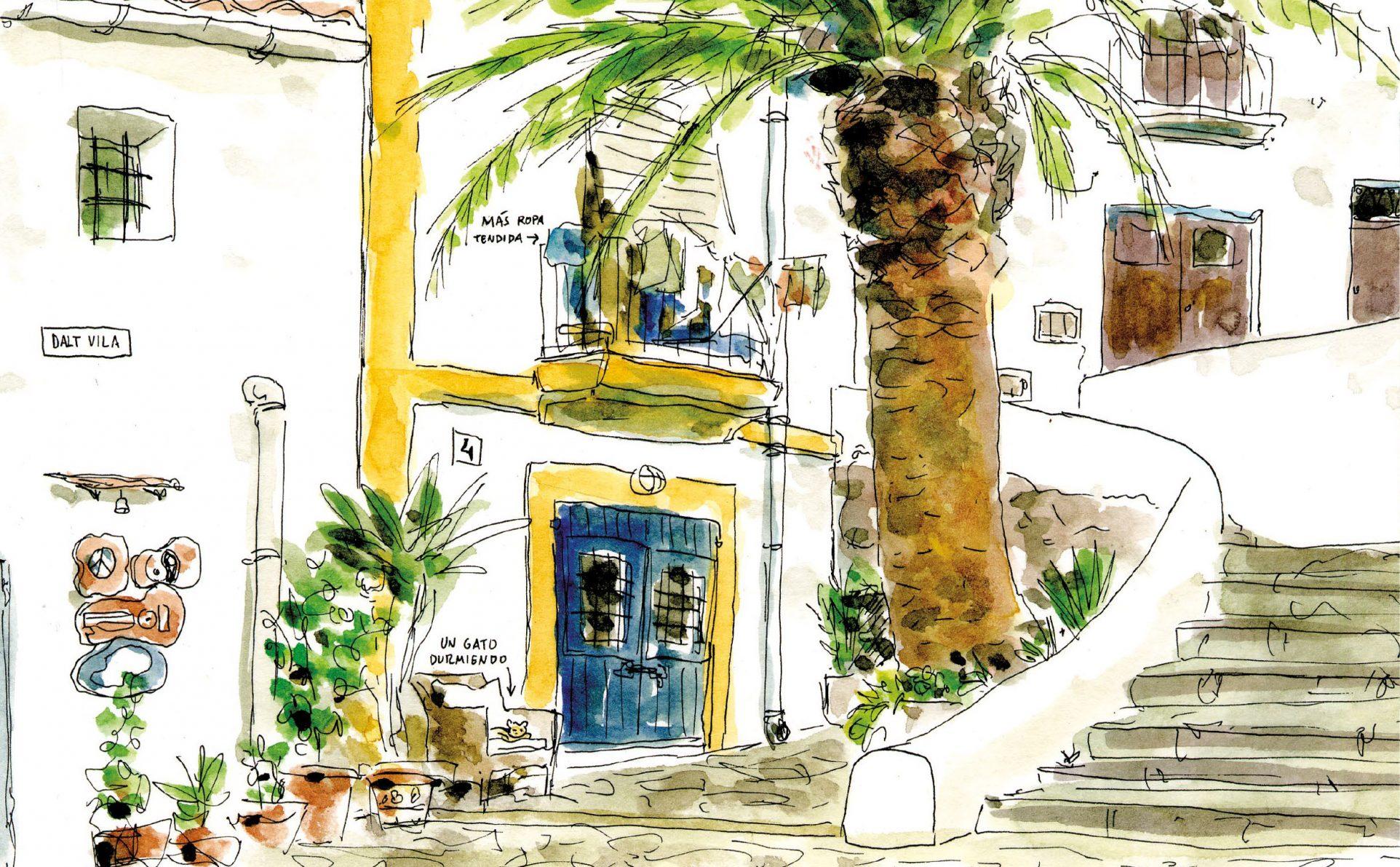 Dibujo en acuarela de un callejón de Dalt Vila en la isla de Ibiza. Baleares, España