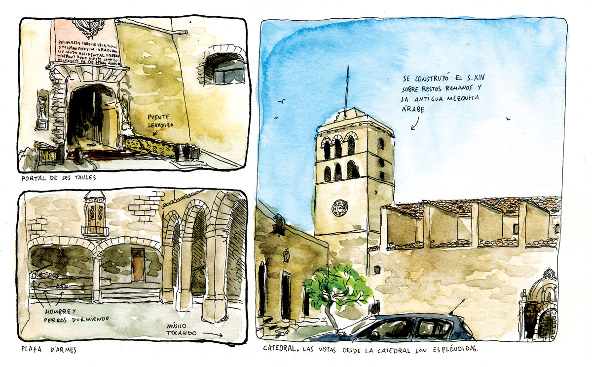 Acuarela de la catedral de ibiza en Dalt Vila. Baleares, España