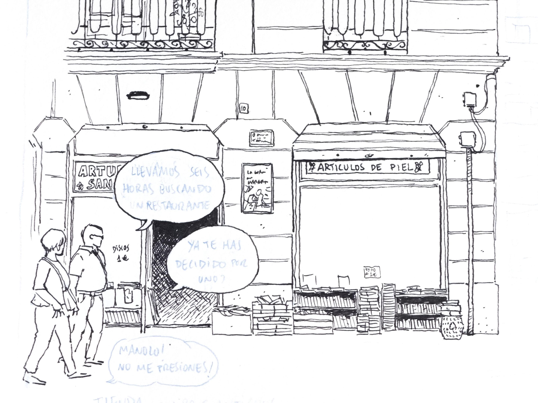 Dibujo estilo urban sketchers de la guarida de las maravillas en la ciudad de valencia