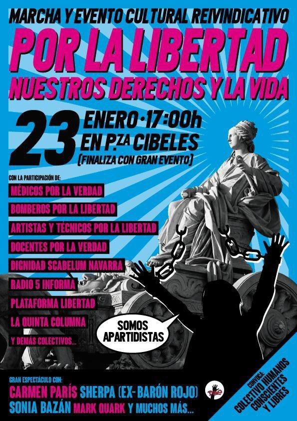 Flyer poster manifestación madrid enero 2021 por la libertad