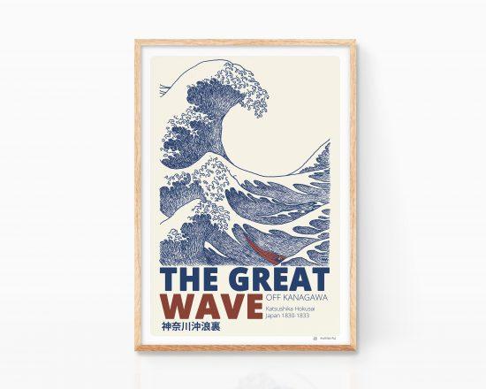 Lámina dibujo ukiyo-e con la estampa japonesa ola de kanagawa del artista Katsushika Hokusai. Diseño e ilustración. Arte de Japón