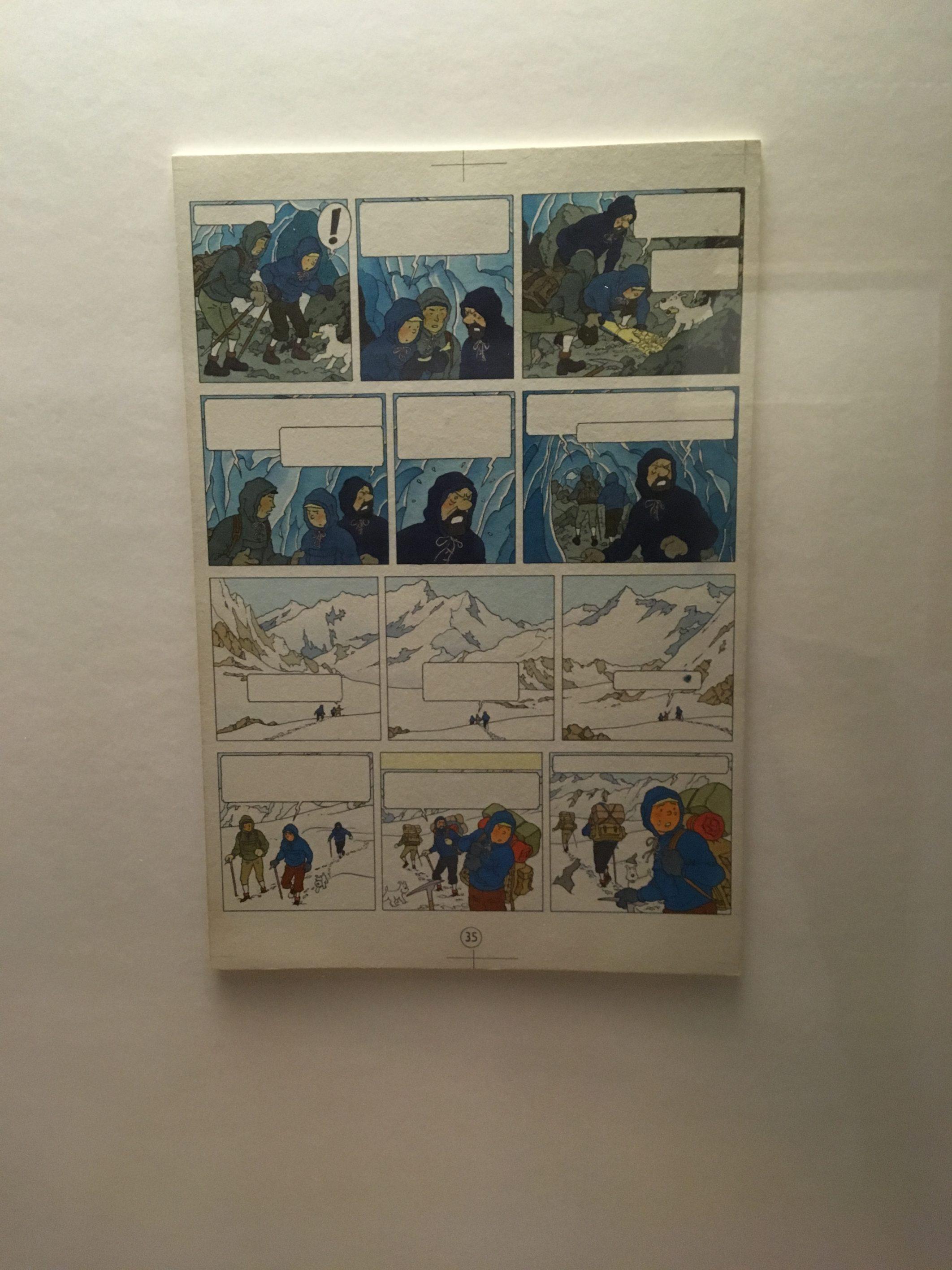 fotografia de una ilustracion original de Tintin de Herge