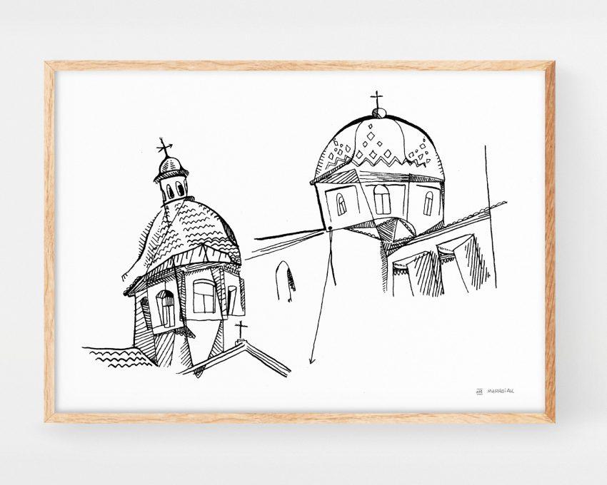 Lámina decorativa con un dibujo en blanco y negro de la Lámina con una ilustración de la iglesia Parroquia De Nuestra Señora Del Consuelo en Altea (Alicante).