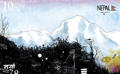 Dibujo vista desde Poon Hill, Nepal