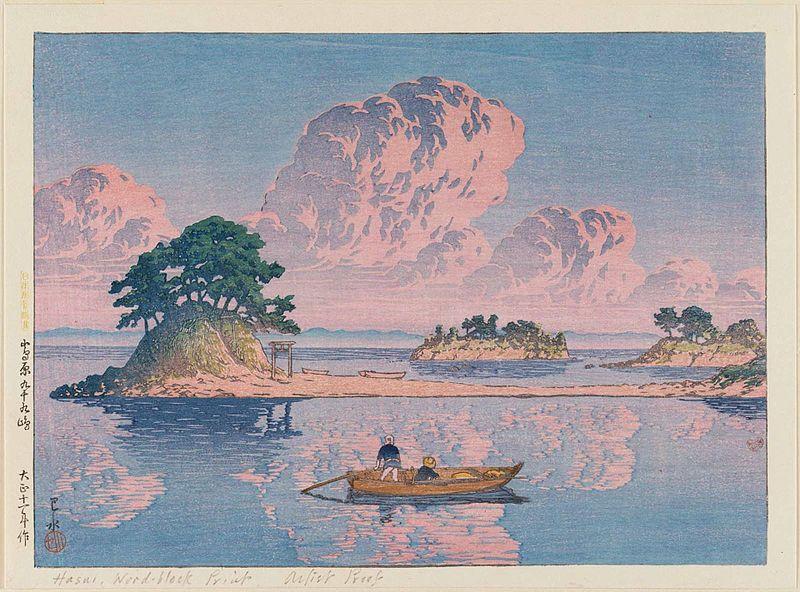 Dibujo de atardecer en el mar de japon