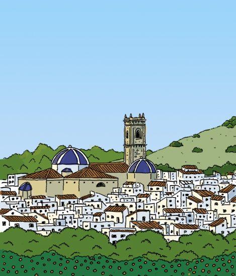 Ilustración con una vista del centro histórico de Oliva con la iglesia de san roque