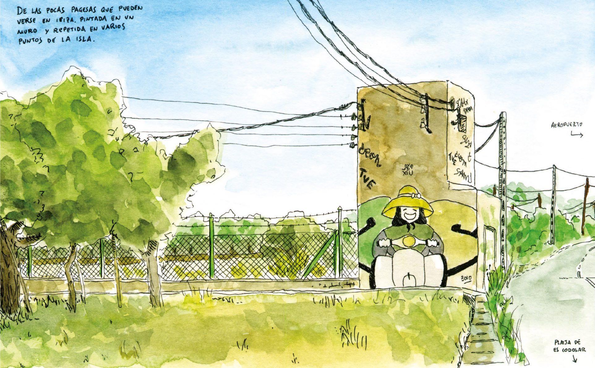 Detalle de un dibujo en acuarela del grafiti de una payesa ibicenca. Sant Josep Ibiza
