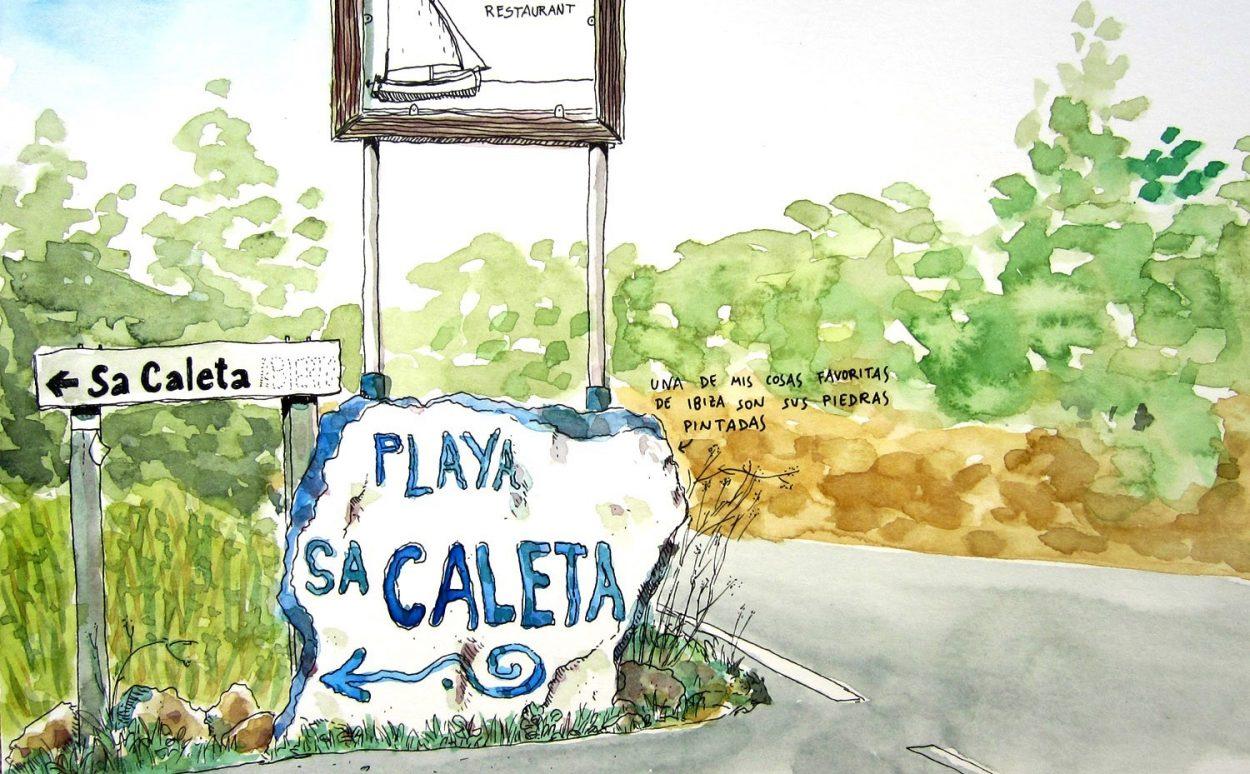 Painted stone drawing of Sa Caleta in Ibiza, Baleares, Spain