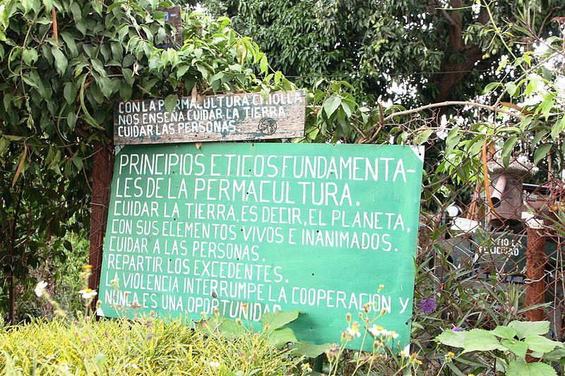 Cartel con los principios de la permacultura