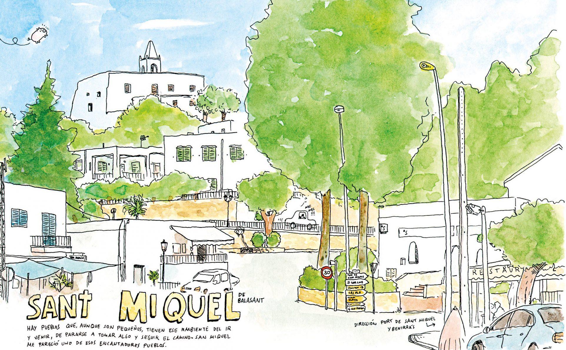 Detalle de una ilustración en acuarela y tinta sobre papel de Sant Miquel. Dibujo Urban sketchers