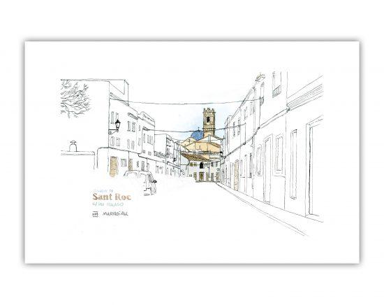 Lámina con un dibujo en tinta y acuarela de la iglesia de San Roque en el municipio de Oliva, Valencia