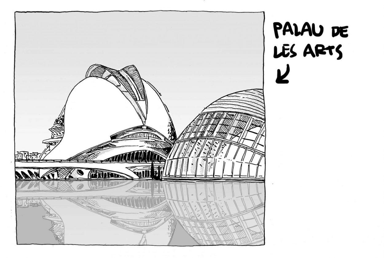 Ilustración en blanco y negro del palacio de las artes de València diseñada por el arquitecto Santiago Calatrava. Dibujo, urban sketchers, boceto, cómic