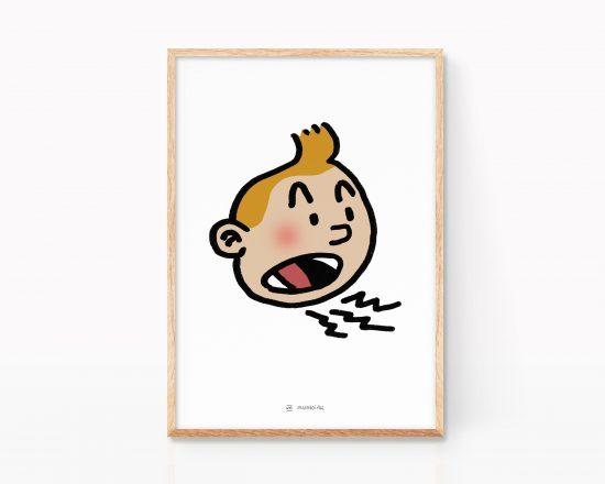 Dibujo en color con un retrato de la cara de tintin. Ilustración de comic Belga. Lámina print. Poster