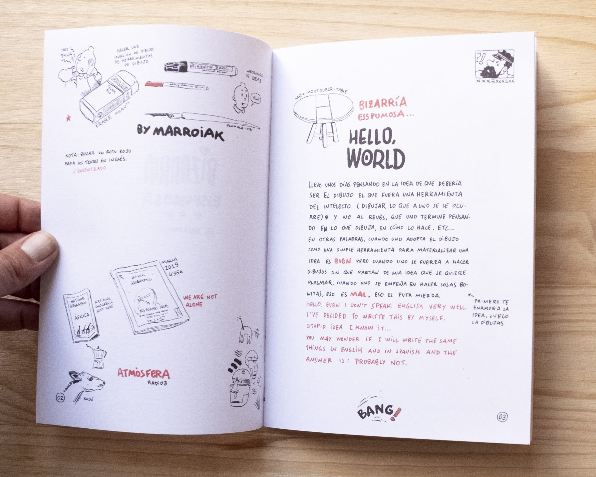 Interior comic underground de ilustración, dibujo y arte