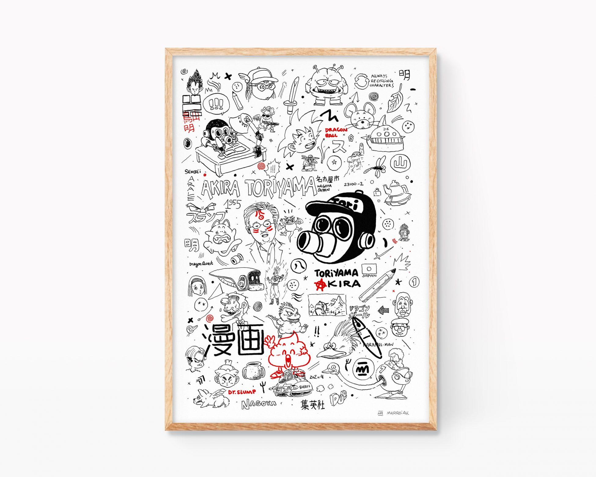 Poster decorativo con un retrato del dibujante de manga akira toriyama. Ilustraciones de son goku, dragon ball, bola de drac, dr slump, arale... Arte urbano, stencill
