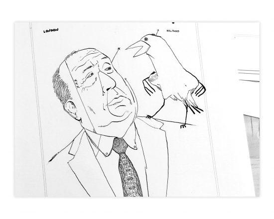 dibujo en blanco y negro con un retrato de alfred hitchcock