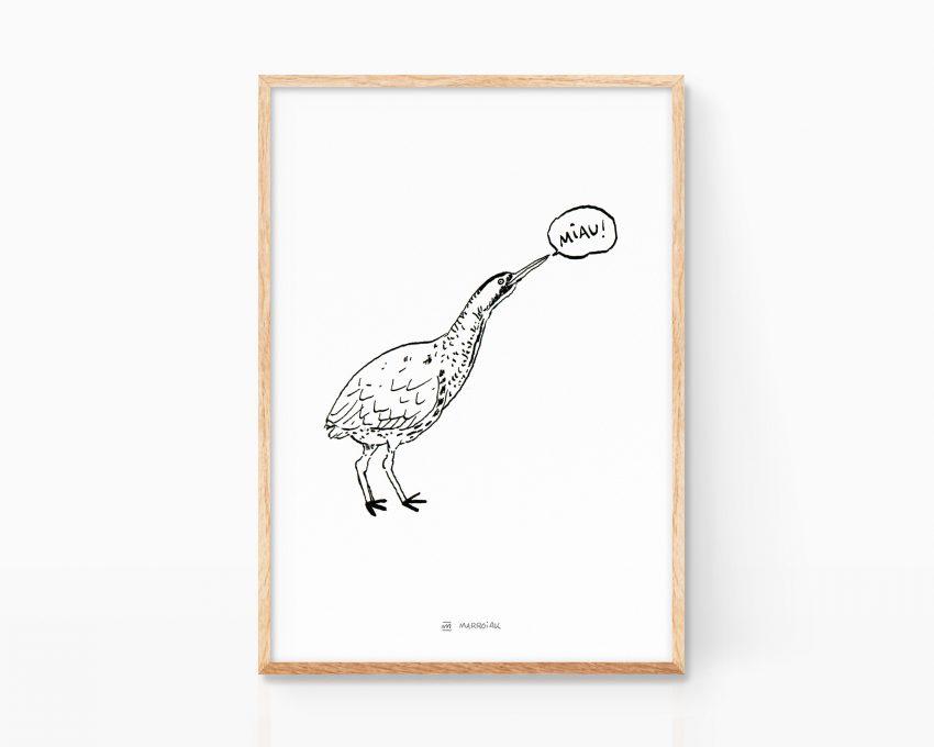 Lámina decorativa de naturaleza con una ilustración de un pájaro avetoro. Dibujos de animales y aves para niños.