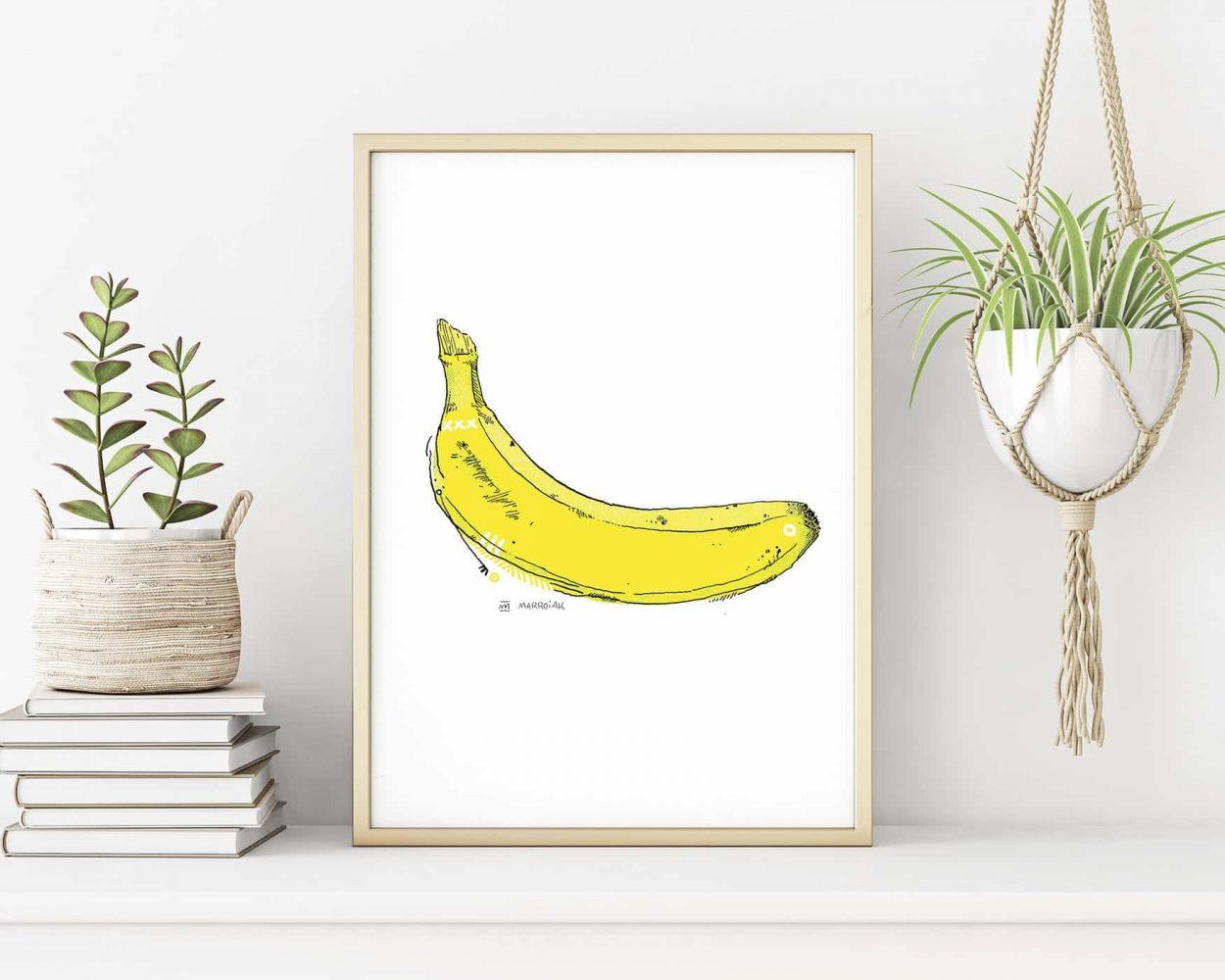 Lámina print con una ilustración de un plátano (banana)