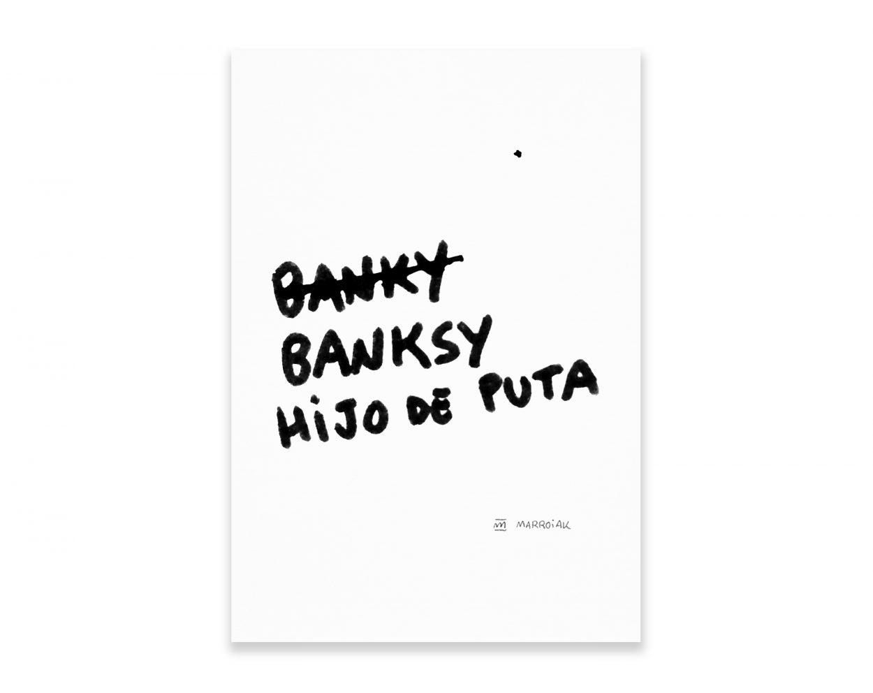 Cuadro decorativo serigrafía Banksy Hijo de Puta. Arte Contemporaneo. Arte urbano. Frases