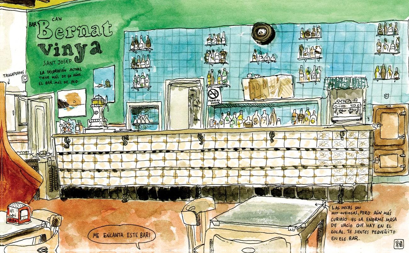 Dibujo en acuarela del Bar Bernat Vinya en Ibiza. Estilo Urban Sketchers, Bares con encanto, Baleares