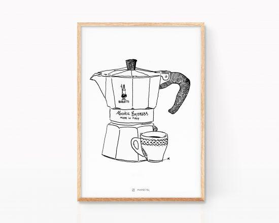 Lámina decorativa para cocinas con una ilustración en blanco y negro de una cafetera italiana Bialetti con una taza de café solo (expreso). Print para enmarcar.