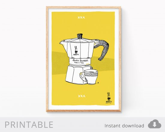 Lámina digital imprimible con una ilustración de una cafetera italiana bialetti. Cuadro decorativo de cocina para imprimir en casa.