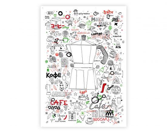 """Dibujo estilo """"Puto Doodle Art"""" con una cafetera y distintas ideas y marcas de café"""