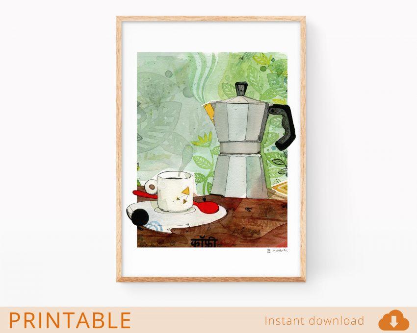Lámina en formato digital jpg para descargar con un dibujo de una cafetera. Decoración para cocinas y amantes del café