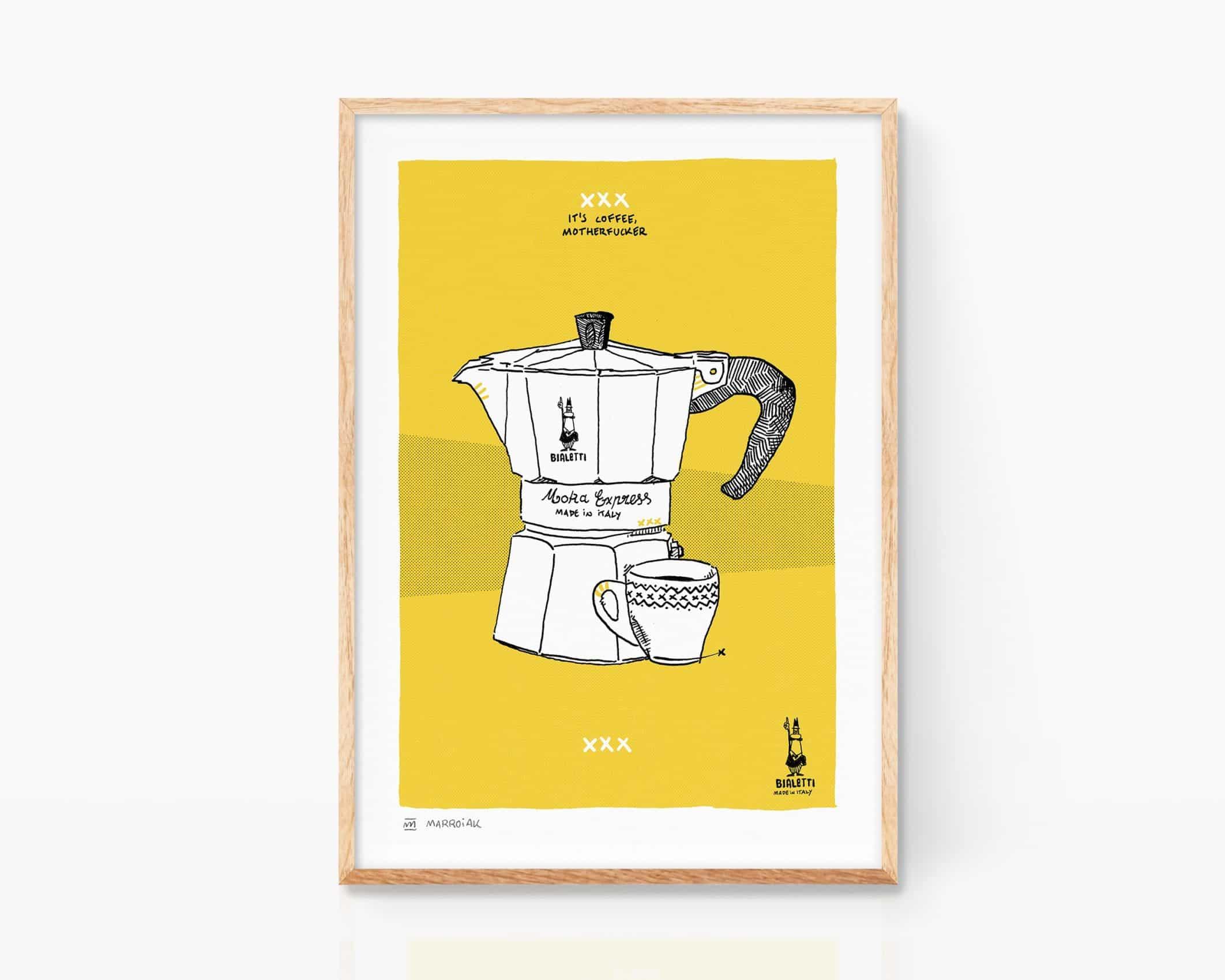 Lámina Print con un dibujo de una cafetera italiana vintage Bialetti. Ilustración tinta sobre papel en color. Cuadro decorativo para cocinas. Decoración Pop Art