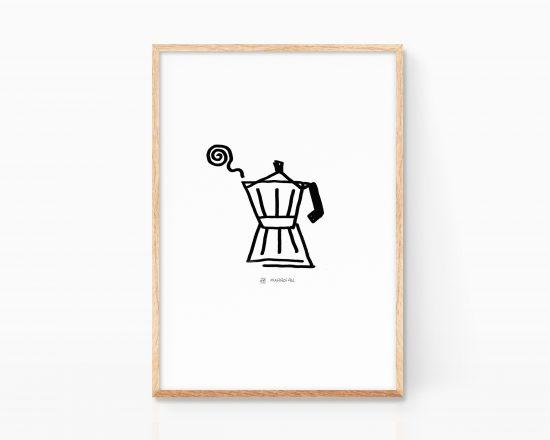 Cuadro para enmarcar de una cafetera italiana minimalista. Decoración nórdica. Estilo grunge. Boceto arte. Dibujo en blanco y negro.