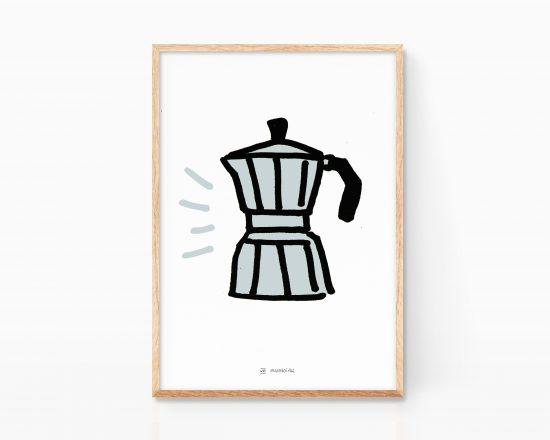 Lámina decorativa con una ilustración de una cafetera italiana vintage minimalista. Dibujo simple y divertido. Cuadro para enmarcar para cocinas y cafeterías