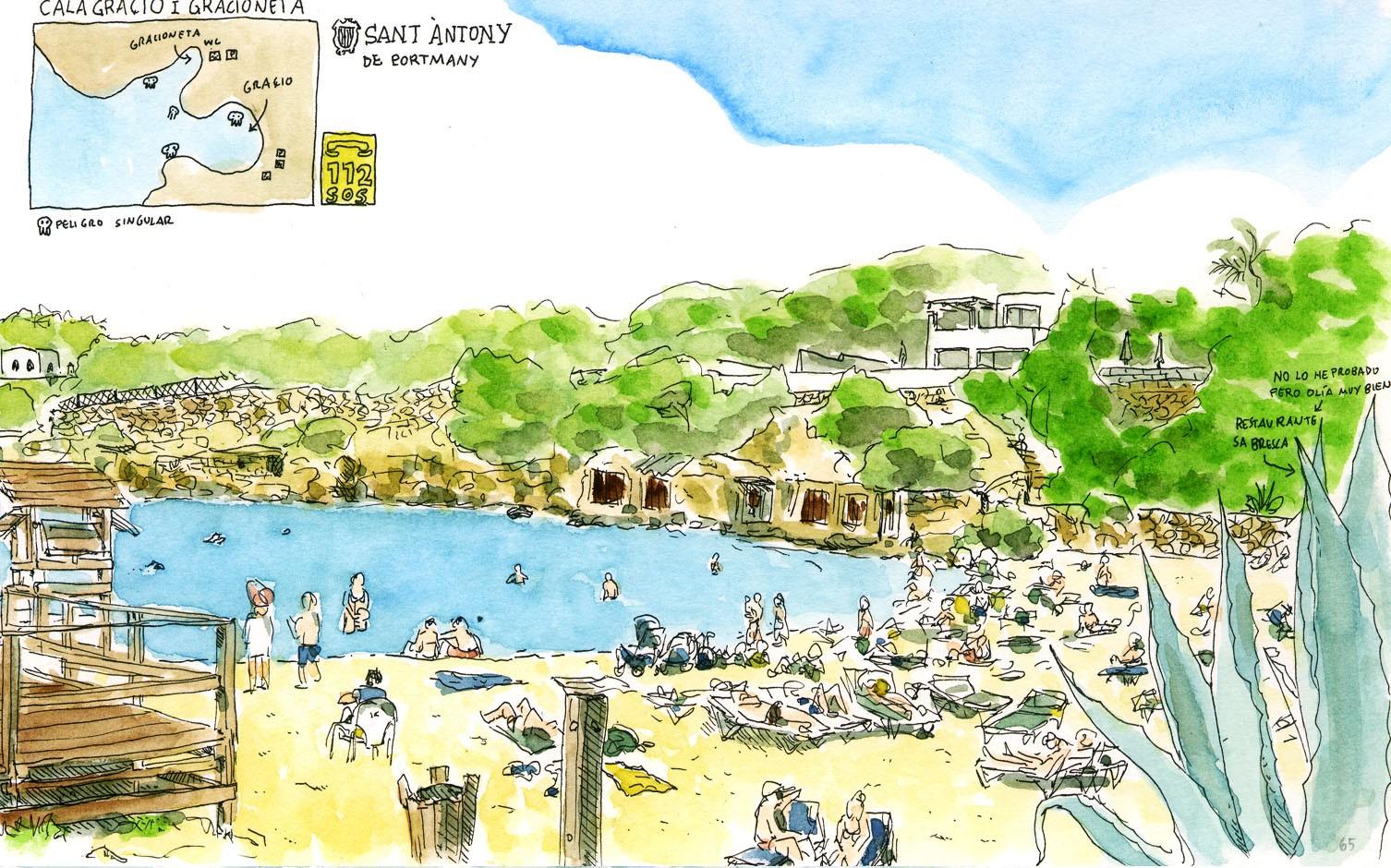 Ilustración de la playa de Sant Antoni Cala Gracioneta en la isla de Ibiza, Baleares, España