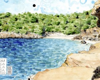Dibujo Cala Salada, Ibiza