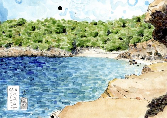 Dibujo en acuarela y tinta sobre papel de la playa Cala Salada en la isla mediterránea de Ibiza, Baleares, España.