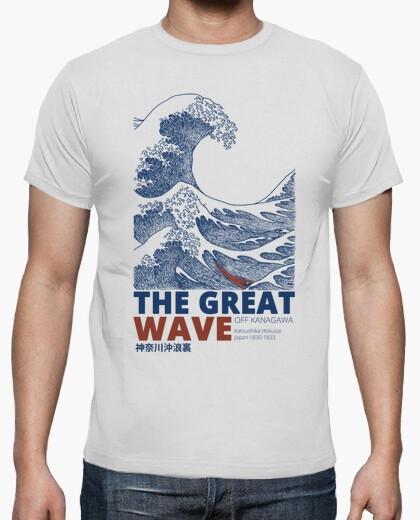 Camiseta blanca de hombre con un diseño de La Gran Ola de Kanagawa del artista japonés Hokusai