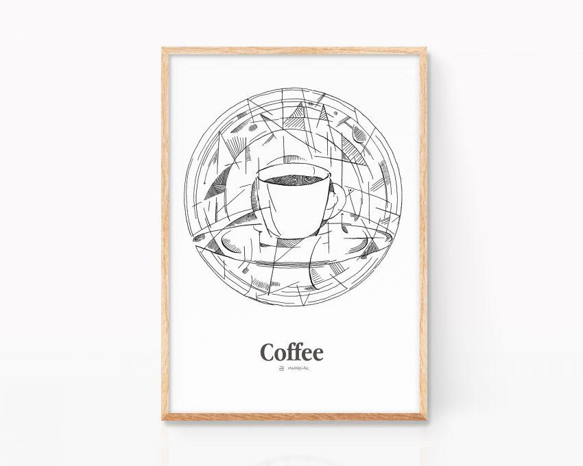Lámina decorativa para cocinas con una ilustración de una taza de café espresso en blanco y negro. Cuadro para enmarcar en cocinas y cafeterías. Estilo cubista, pablo picasso