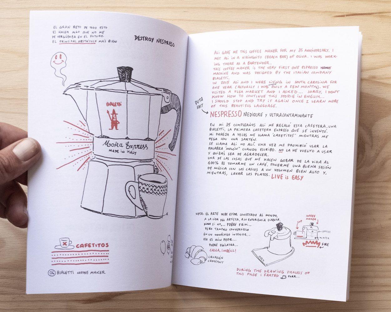 Comic ilustración experimental. Dibujo cafetera Bialetti