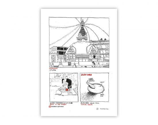 Dibujo con una ilustración de un comic de nepal. Estupa, Asia
