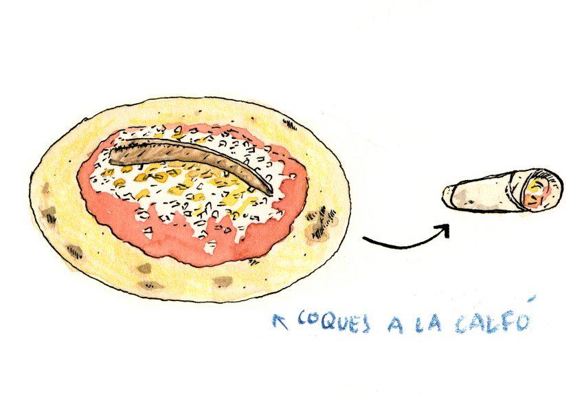 Ilustración con una receta de las cocas de maíz típicas de Valencia con tomate, huevo, atún y anchoas
