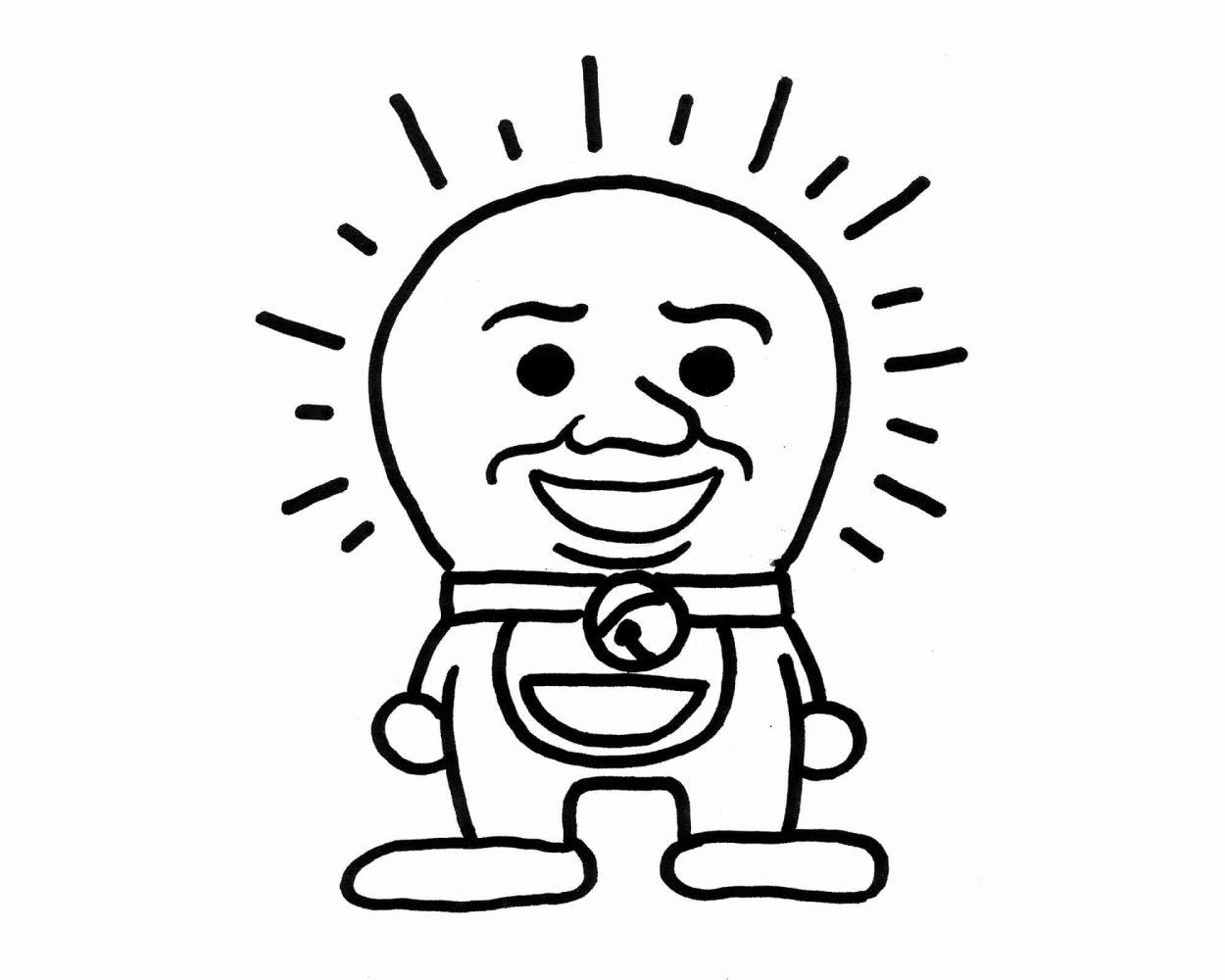 Lámina ilustración joan cornella contra doraemon. Art remixes. Dibujo en blanco y negro divertido